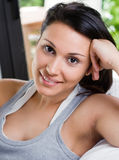 Beautiful woman at morning. Young woman smiling in the morning Stock Photo
