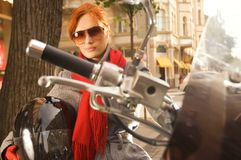 Beautiful woman on the motorcycle Stock Photo
