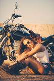Beautiful woman on the motorcycle Royalty Free Stock Images