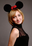 Beautiful woman in a mouse mask Royalty Free Stock Images