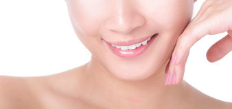 Beautiful woman mouth and lips with charming smile Stock Photos