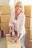 Beautiful woman moving Stock Images