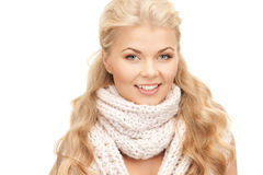 Beautiful woman in muffler Royalty Free Stock Image