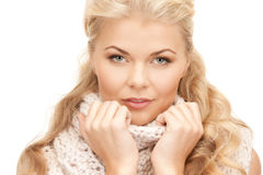 Beautiful woman in muffler Royalty Free Stock Photography