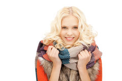 Beautiful woman in muffler Stock Images