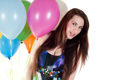 Beautiful woman with multicolored air balloons Royalty Free Stock Photography