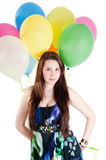 Beautiful woman with multicolored air balloons Stock Images