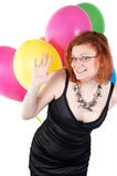 Beautiful woman with multicolored air balloons Stock Photos