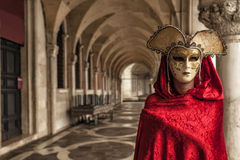 Beautiful Woman in Mysterious Mask. The Carnival of Venice Royalty Free Stock Photos