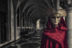 Beautiful Woman in Mysterious Mask Stock Photography