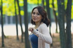 Beautiful woman in a mystical forest. People royalty free stock images