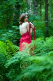 Beautiful woman with naked back In summer forest Royalty Free Stock Images
