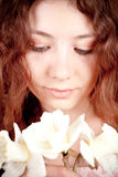 Beautiful woman with narcissus Royalty Free Stock Photo
