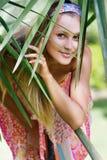 Beautiful woman on natural background Stock Photo