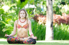 Beautiful woman on natural background Stock Photos