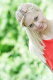 Beautiful woman on natural background Royalty Free Stock Photos