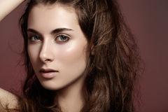 Beautiful woman with natural make-up, clean face stock images