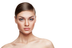 Beautiful woman with natural make up on white background Stock Images