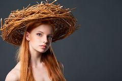 Beautiful woman in natural wreath Royalty Free Stock Photos