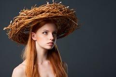 Beautiful woman in natural wreath Stock Image