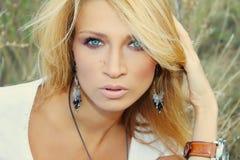 Beautiful woman in nature Stock Photos