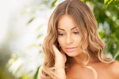 Beautiful woman on nature Stock Photography