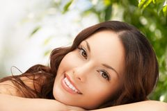 Beautiful woman on nature royalty free stock photos