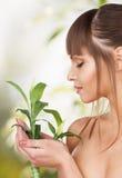 Beautiful woman on nature Royalty Free Stock Photography