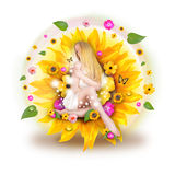 Beautiful Woman in Nature Flowers Stock Images