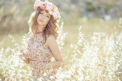 Beautiful woman in spring stock photo