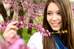 Beautiful woman in nature stock images