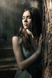 Beautiful woman in nature scenery royalty free stock image