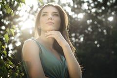 Beautiful woman in nature scenery Stock Image