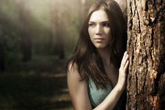 Beautiful woman in nature scenery Royalty Free Stock Photo