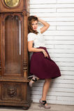 Beautiful woman near clock Royalty Free Stock Photography