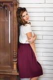 Beautiful woman near the clock Royalty Free Stock Photo