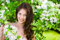 Beautiful woman near the flowered tree Royalty Free Stock Photos