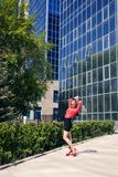 Beautiful woman near a modern building. This image has attached release Royalty Free Stock Images