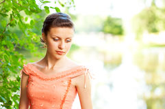 Beautiful woman near river Royalty Free Stock Images