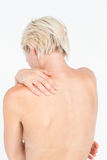 Beautiful woman with neck pain Stock Photo