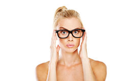 Beautiful woman nerd Royalty Free Stock Photo