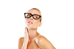 Beautiful woman in nerdy glasses Stock Photography