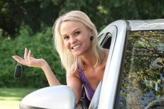 Beautiful Woman with New Car Stock Images