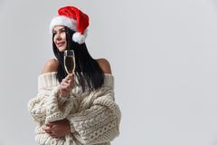 Beautiful woman in new year. Beautiful woman on blank background in new year Royalty Free Stock Photo
