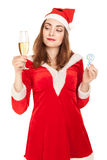Beautiful woman in new year costume with a glass of champagne Stock Photos
