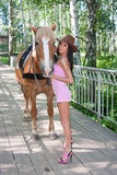 beautiful woman next to a horse on nature Stock Images
