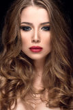 Beautiful woman with nice make up and red lips. Beautiful woman portrait with nice make up and red lips Royalty Free Stock Image