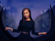 Beautiful woman in the night city Royalty Free Stock Photos
