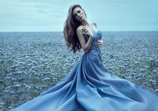 Beautiful woman in night dress outdoor Stock Photography