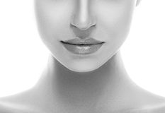 Beautiful woman nose chin and shoulders close up studio on white Stock Images